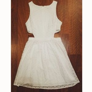 White Eyelet Cotton Sundress with Cutouts
